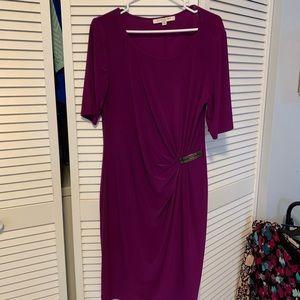 Evan picone purple dress 3/4 sleeve gathered
